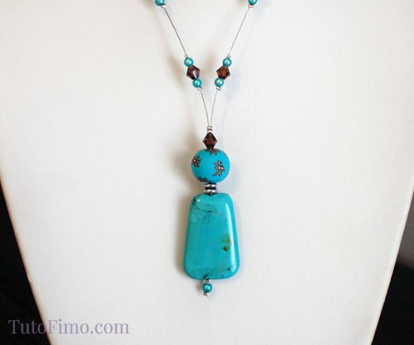 Bijou Fimo : Collier Fleurs et Turquoise