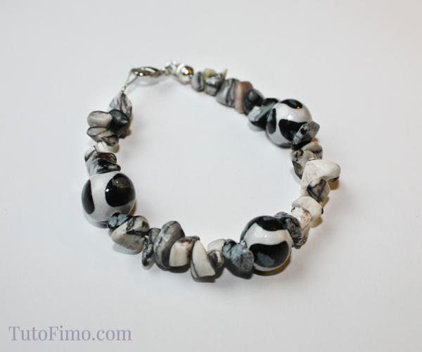 Bracelet Perles Fimo & Pierres-gemmes