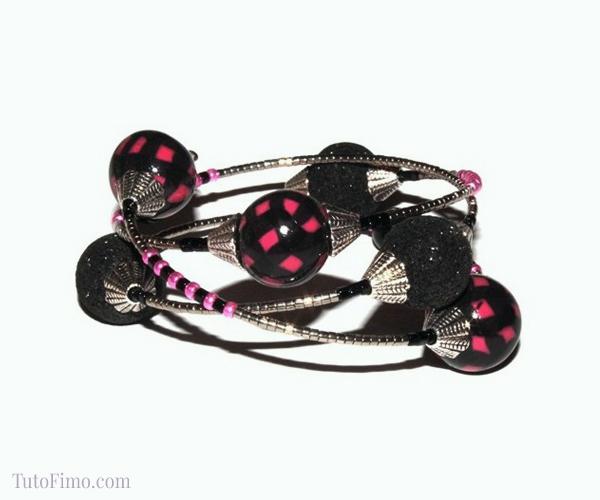Bijou Fimo, bracelet rock