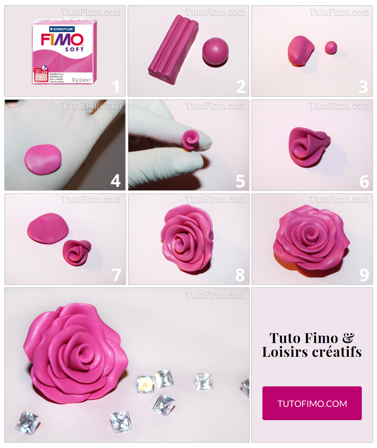 tuto pour faire une rose en fimo tuto fimo facile. Black Bedroom Furniture Sets. Home Design Ideas