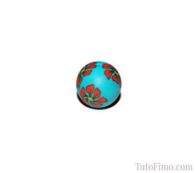 Perle Fimo turquoise fleur