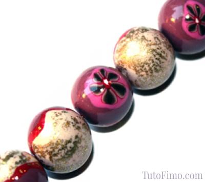 Perle Fimo fleurie