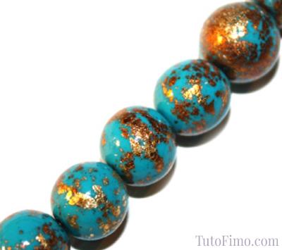Perles Fimo turquoises